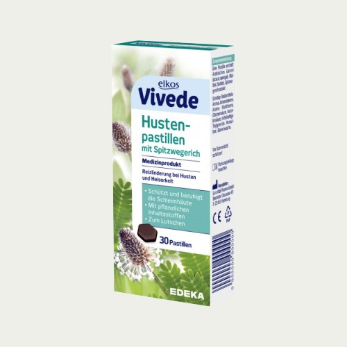 3405 - Elkos Vivede Cough Lozenges with Ribwort 30s - German Health Store