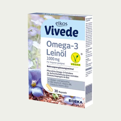3408 - Elkos Vivede Omega 3 Linseed Oil 1000mg 30s - German Health Store