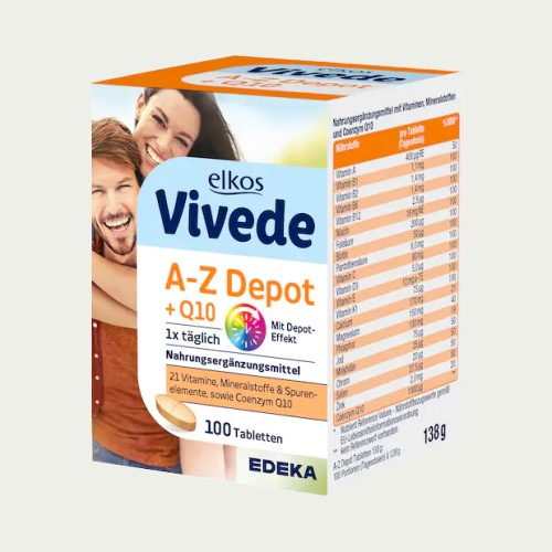 2518-1 - Elkos Vivede A-Z MultiVitamin with Q10 Tablets 100's - German Health Store